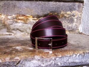 ceinture cuir surpiquée made in france croiux rousse